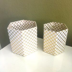 Storage Containers - Gold Geometric - Set of 2 NWT
